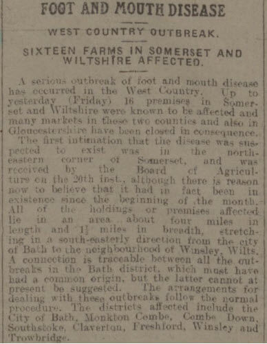 Foot and mouth outbreak in 1915 - Bath Chronicle and Weekly Gazette - Saturday 30 October 1915