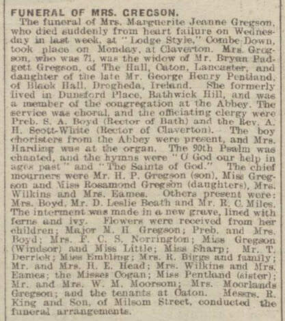 Funeral of Mrs Marguerite Jeanne (née Pentland) Gregson - Bath Chronicle and Weekly Gazette - Saturday 15 March 1919