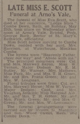 Late Mis E Scott - Bath Chronicle and Weekly Gazette - Saturday 31 May 1941
