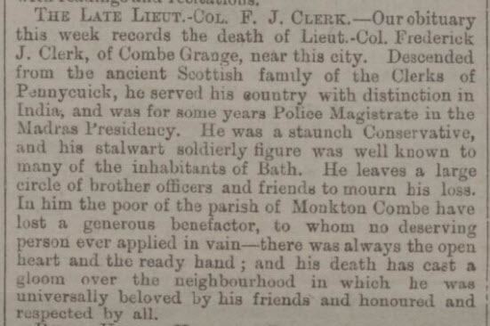 Lt Col Clerk, Combe Grange - Bath Chronicle and Weekly Gazette - Thursday 25 December 1873