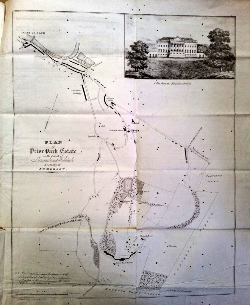 Map of Prior Park for sale on 10 July 1828