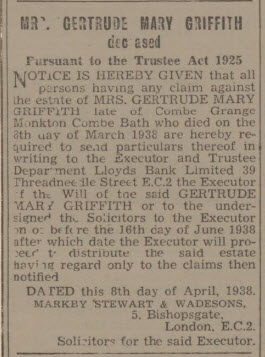 Mrs Gertrude Mary Griffith - Bath Chronicle and Weekly Gazette - Saturday 16 April 1938