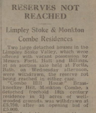 Reserve not reached - Bath Chronicle and Weekly Gazette - Saturday 2 April 1949