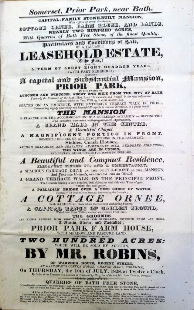 Sale of Prior Park, 10 July 1828