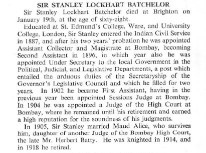 Sir Stanley Lockhart Batchelor - The Tablet - 29 Jan 1938