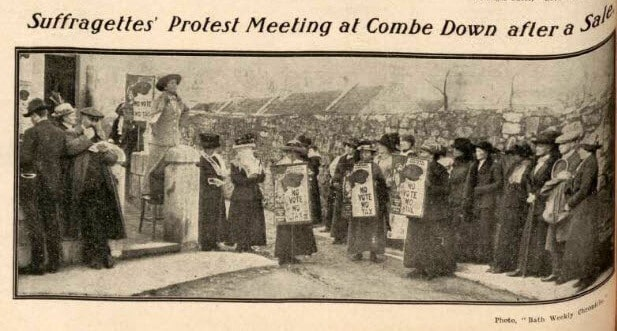 Suffragettes protest meeting on Combe Down
