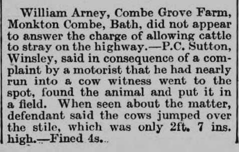 William Arney, Combe Grove farm - Wiltshire Times and Trowbridge Advertiser - Saturday 29 October 1932