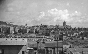Bath panorama from railway just west of railway station in 1958 still showing bomb damage