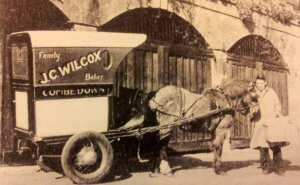 J C Wilcox, Combe Down baker delivering at Southstoke early 1900s