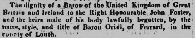 Baron Oriel - Globe - Monday 16 July 1821