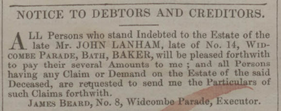 John Lanham death and debtors or creditors - Bath Chronicle and Weekly Gazette - Thursday 9 April 1846
