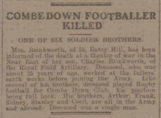 Combe Down footballer killed - Bath Chronicle and Weekly Gazette - Saturday 10 March 1917