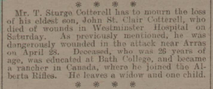 Death of John St Clair Cotterrell - Bath Chronicle and Weekly Gazette - Saturday 19 May 1917