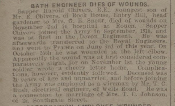 Harold Chivers dies of wounds - Bath Chronicle and Weekly Gazette - Saturday 10 November 1917
