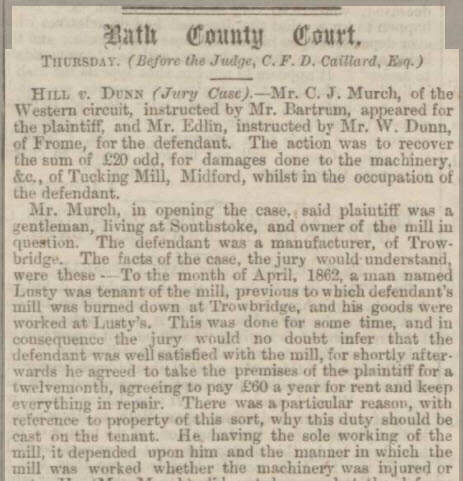 Hill v Dunn mentioning Lusty - Bath Chronicle and Weekly Gazette - Thursday 26 January 1865