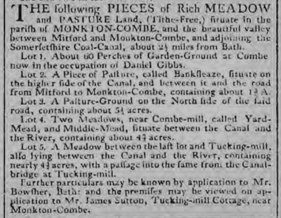 James Sutton, Tucking Mill cottage, Bath Chronicle and Weekly Gazette - Thursday 3 December 1807