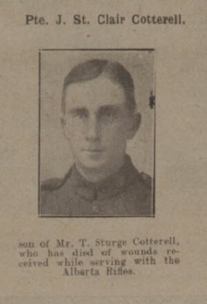 John St Clair Cotterell - Bath Chronicle and Weekly Gazette - Saturday 26 May 1917