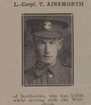 Lance Corporal T Ainsworh - Bath Chronicle and Weekly Gazette - Saturday 15 September 1917