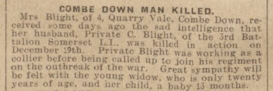 Private C Blight - Bath Chronicle and Weekly Gazette - Saturday 30 January 1915
