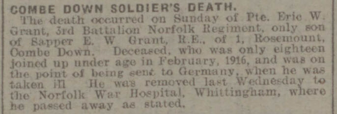 Private Eric W Grant - Bath Chronicle and Weekly Gazette - Saturday 8 March 1919