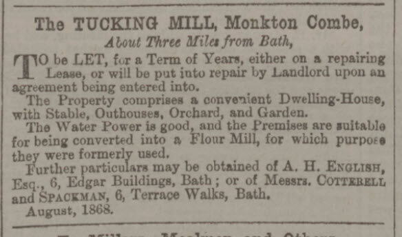 Tucking Mill to let - Bath Chronicle and Weekly Gazette - Thursday 27 August 1868