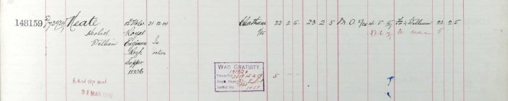 UK, Army Registers of Soldiers' Effects, 1901-1929 for Herbert William Neate