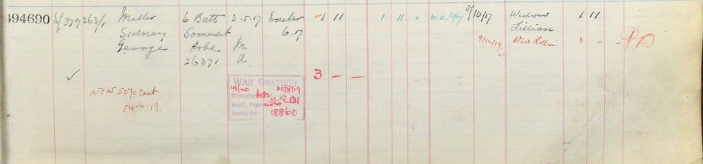 UK, Army Registers of Soldiers' Effects, 1901-1929 for Sidney George Miller