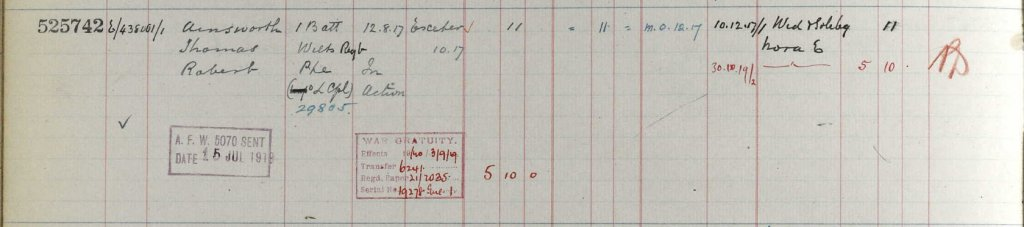 UK, Army Registers of Soldiers' Effects, 1901-1929 for Thomas Robert Ainsworth