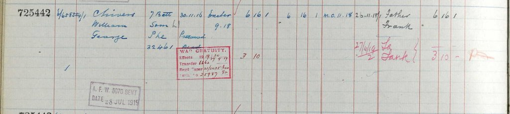 UK, Army Registers of Soldiers' Effects, 1901-1929 for William George Chivers