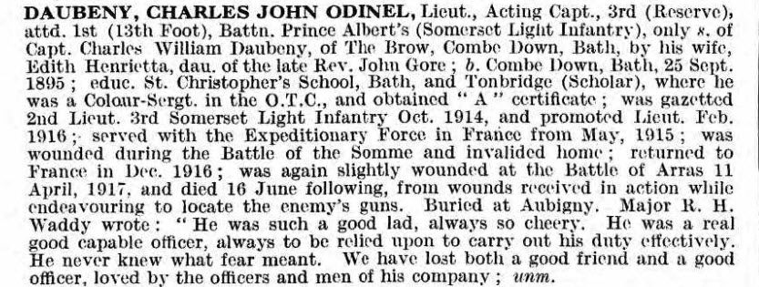 UK, De Ruvigny's Roll of Honour, 1914-1919 for Charles John Odinel Daubeny
