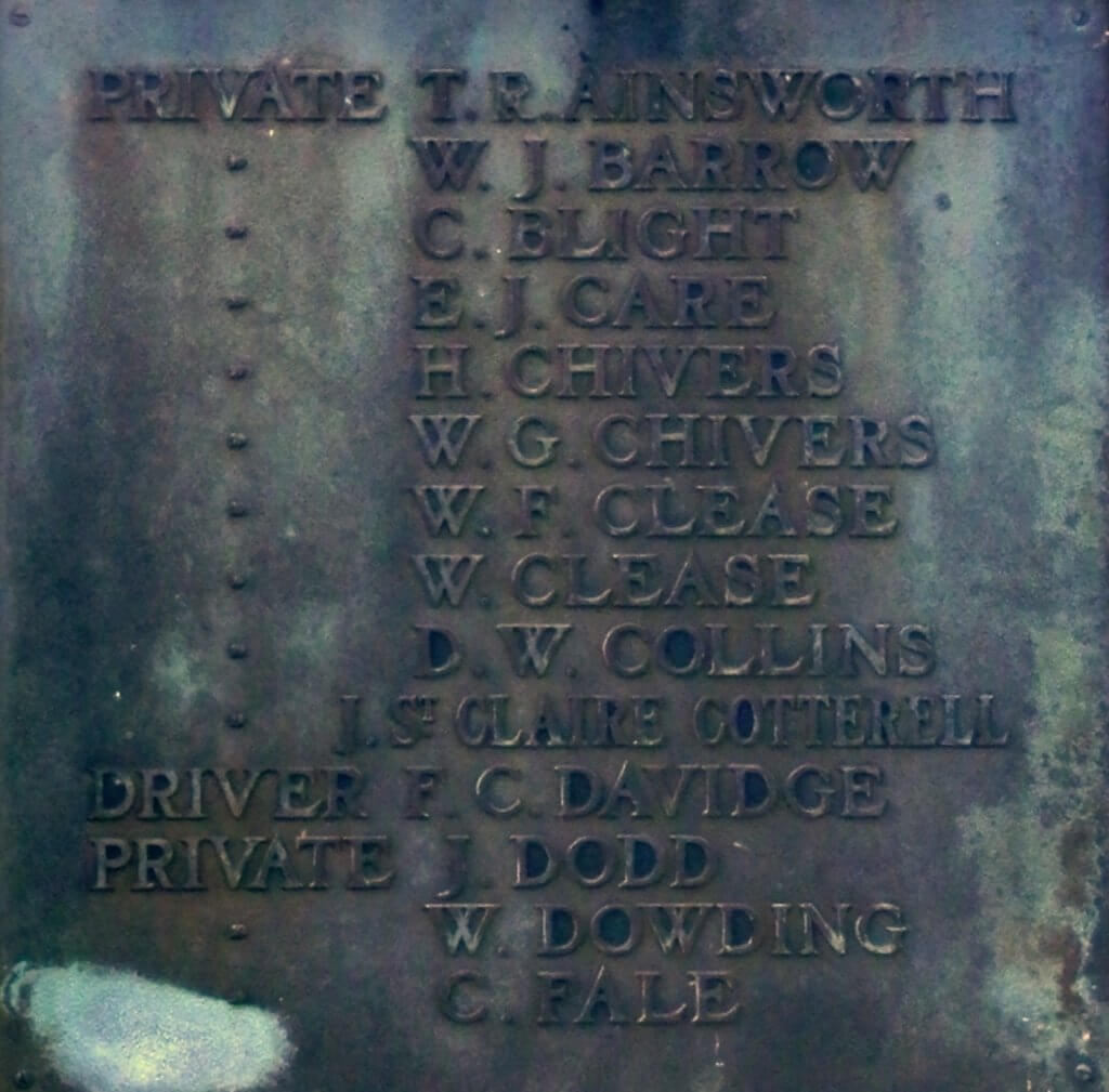 1914 - 1918 Combe Down war memorial cross plaques - Ainsworth to Fale