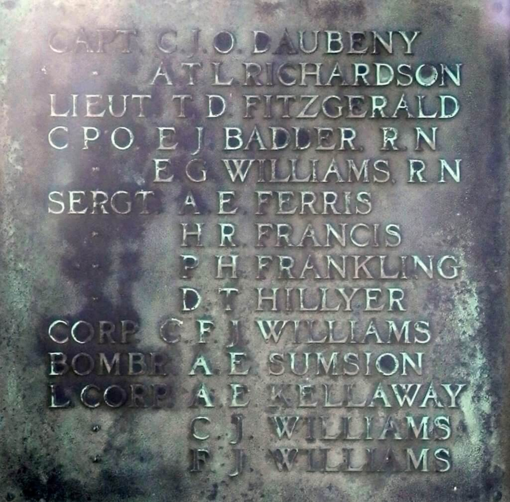 1914 - 1918 Combe Down war memorial cross plaques - Daubeney to Williams