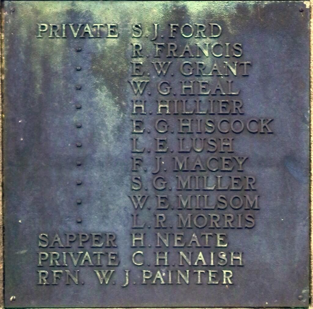 1914 - 1918 Combe Down war memorial cross plaques - Ford to Painter