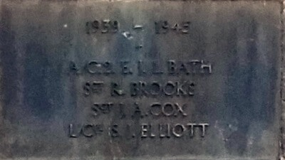 1939 - 1945 Combe Down war memorial cross plaques - Bath to Elliott