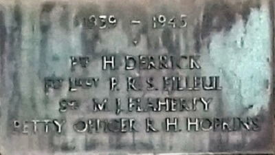 1939 - 1945 Combe Down war memorial cross plaques - Derrick to Hopkins