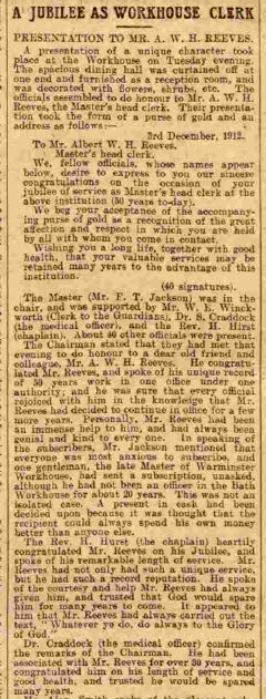 Albert W H Reeves, Crossways House - Bath Chronicle and Weekly Gazette - Saturday 21 December 1912