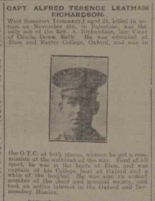Alfred Terence Leatham Richardson - Bath Chronicle and Weekly Gazette - Saturday 17 November 1917