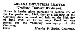 Arkana Industries winding up - The London Gazette, 7 July 1968