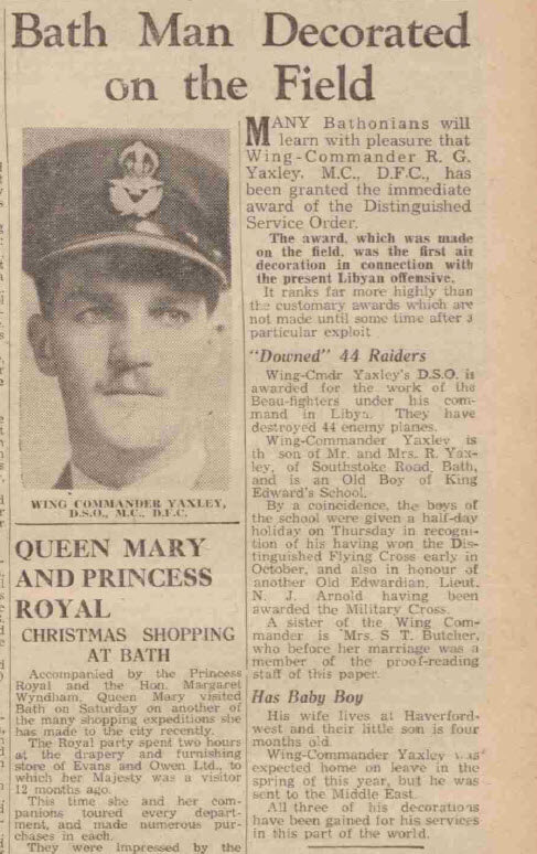 Bath man decorated on the field - Bath Chronicle and Weekly Gazette - Saturday 29 November 1941