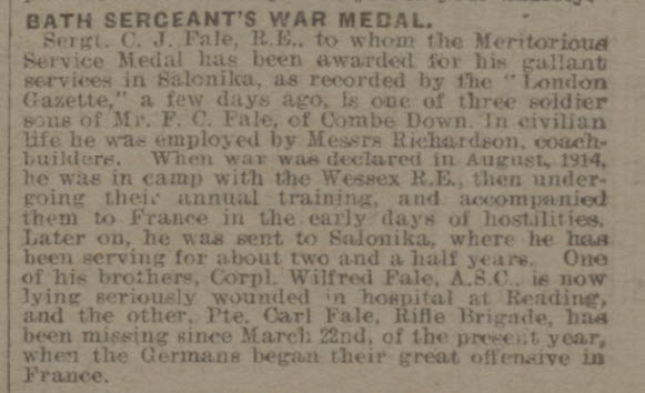 Bath Sergeant's war medal - Bath Chronicle and Weekly Gazette - Saturday 29 June 1918