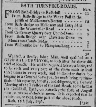 Bath Turnpike roads - Bath Chronicle and Weekly Gazette - Thursday 21 July 1796