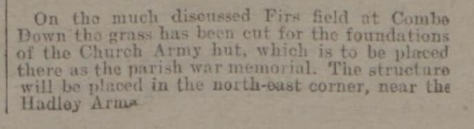 Church Army hut war memorial - Bath Chronicle and Weekly Gazette - Saturday 21 June 1919