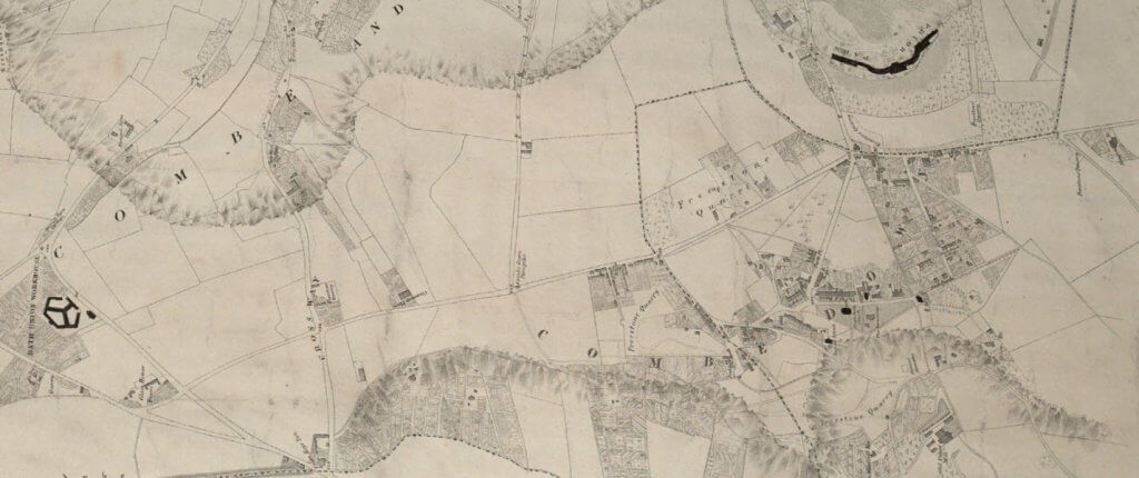 Combe Down area from Cotterell's 1852 Plan of the city and borough of Bath and its surrounds