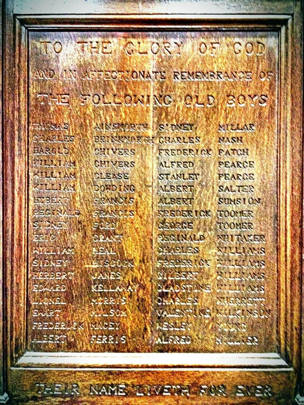 Combe Down school war memorial board