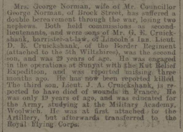 Cruickshank brothers - Bath Chronicle and Weekly Gazette - Saturday 15 July 1916