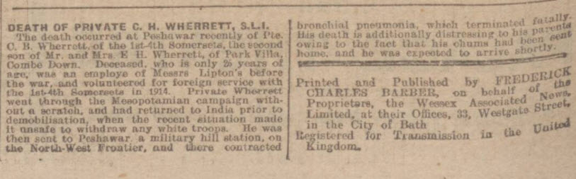 Death of C H Wherrett - Bath Chronicle and Weekly Gazette - Saturday 12 July 1919