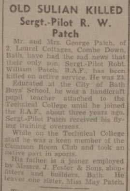 Death of Robert William Patch - Bath Chronicle and Weekly Gazette - Saturday 13 November 1943