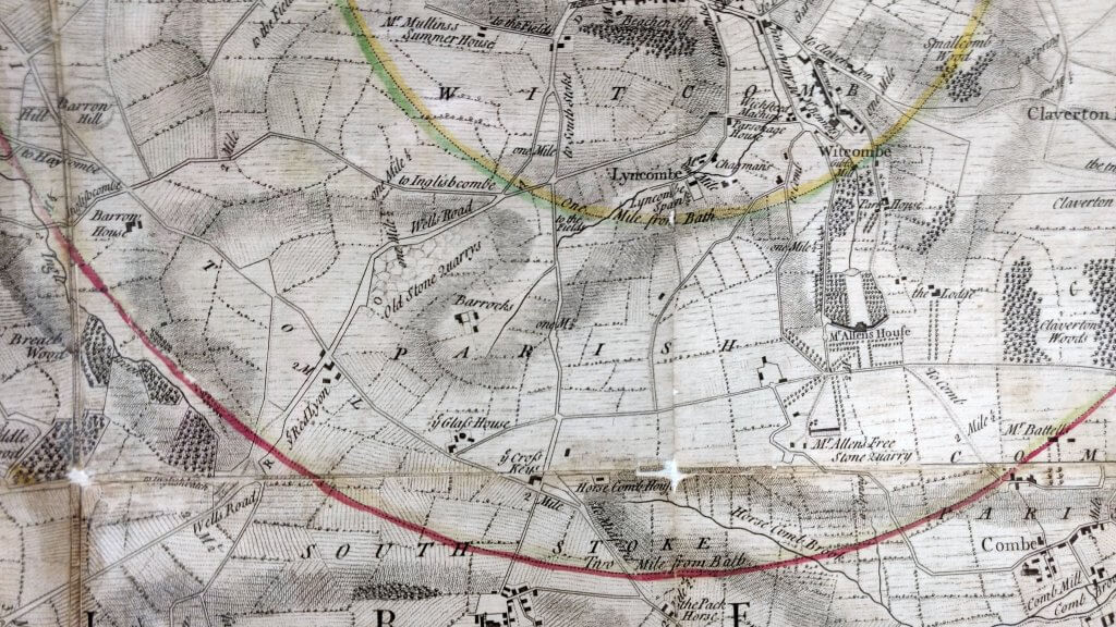 Detail of Thorpe's map of 1742 showing road layouts to the South of Bath