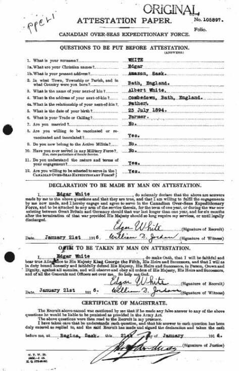 Edgar George Leslie White - Canada, WWI CEF Attestation Papers, 1914-1918
