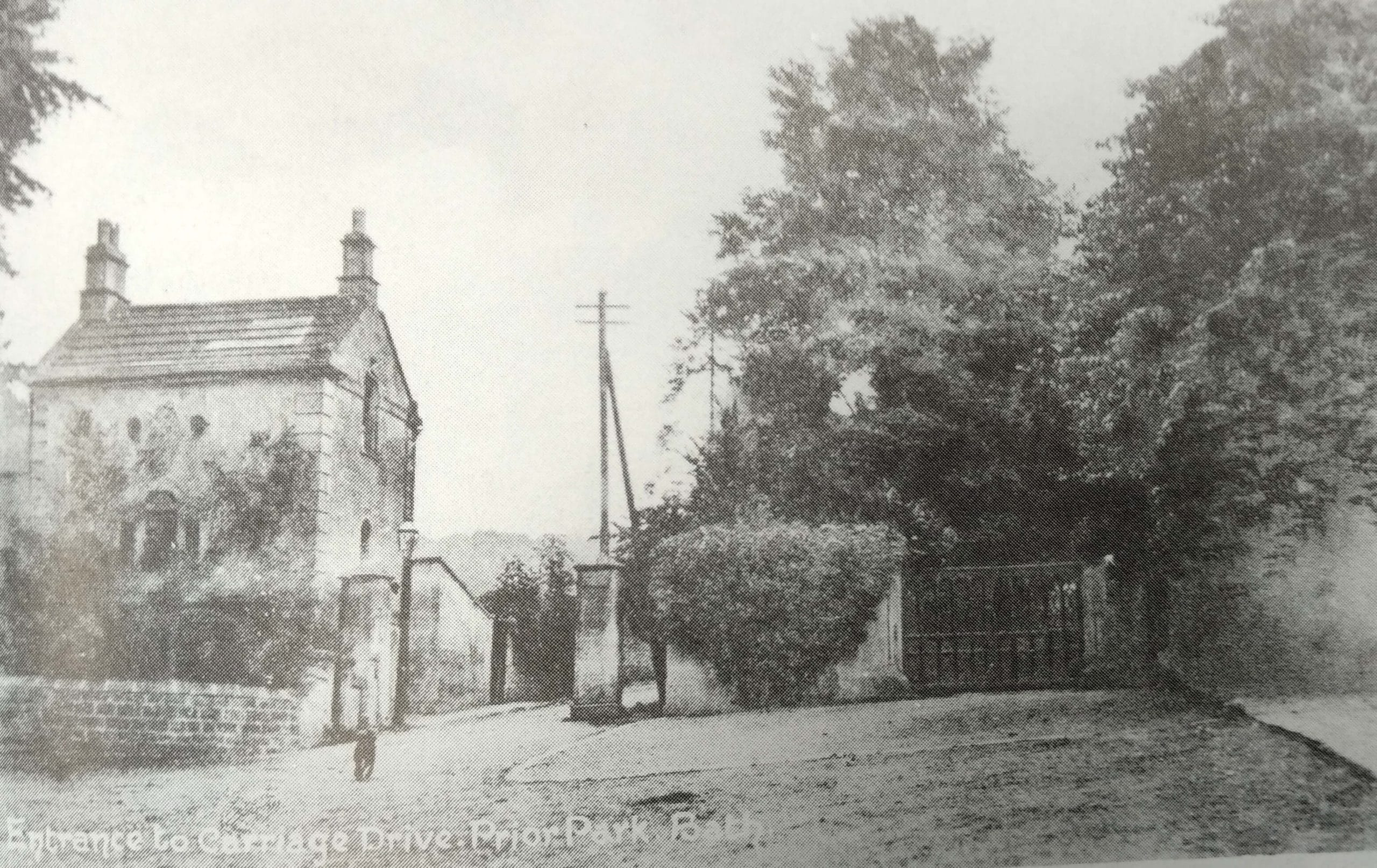 Entrance to carriage drive at Prior Park about 1906